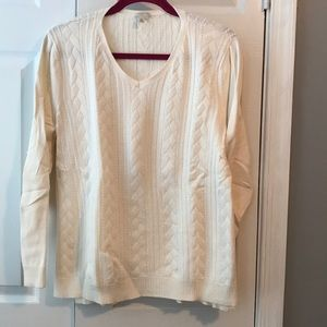 Talbots off-White lightweight cable sweater